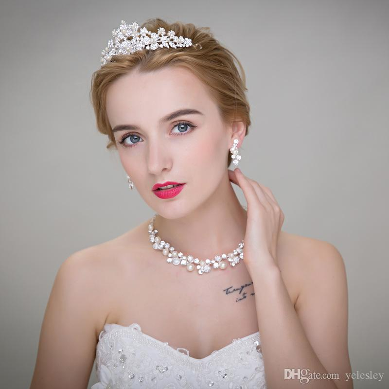 Luxurious Cheap Rhinestone Tiara Headwear Crown Necklace Earring Sets for Wedding Bridal Party Dresses Bridal Jewelry