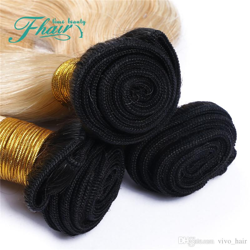 Blonde Körperwelle Jungfrau-Haar mit Frontals 1B 613 Ombre Haarwebart Bundles mit Spitze Frontal Schließung Malaysian Virgin Menschenhaar