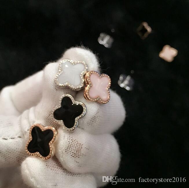 Kadınlar Hediye Yüksek Kalite Fabrika Toptan 925 Gümüş Kaplama Yonca Küpe Rose Gold Şanslı Kulak Stud Küpe Takı
