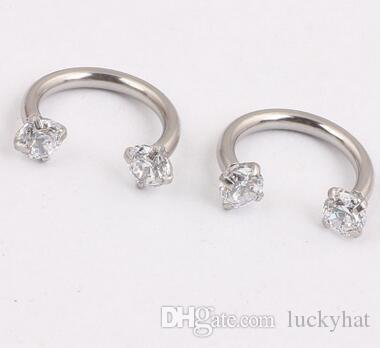 hot new 1.2*8*3MM Stainless steel anti allergy body jewelry Zircon internal teeth nose rings nose studs pierding high quality