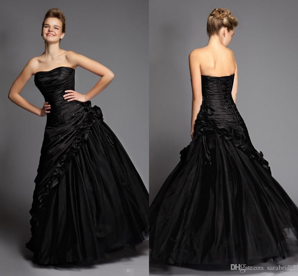 Gothic Wedding Dresses 2016 A Line Strapless Black Taffeta: 2016 Vestido De Noiva Victorian Gothic Black Prom Dress