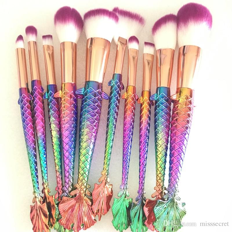 bd190977ef3 Rainbow Mermaid Makeup Brushes Set Professional Cosmetic Foundation Powder  Blusher Concealer Contour Blending Makeup Brush Tool Kit Sonia Kashuk  Brushes ...
