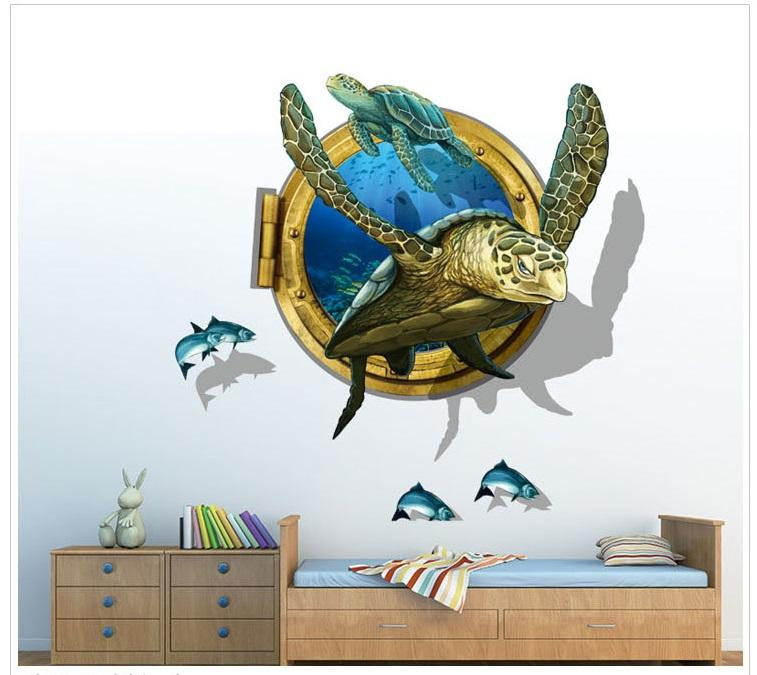Sea Turtle 3d Wall Stickers Vinyl Animal Wall Art For Kindergarten