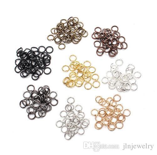 JLN Rame 4mm / 5mm Open Jump Rings Split Rings Connettori colore oro / nero / argento / bronzo creazione di gioielli