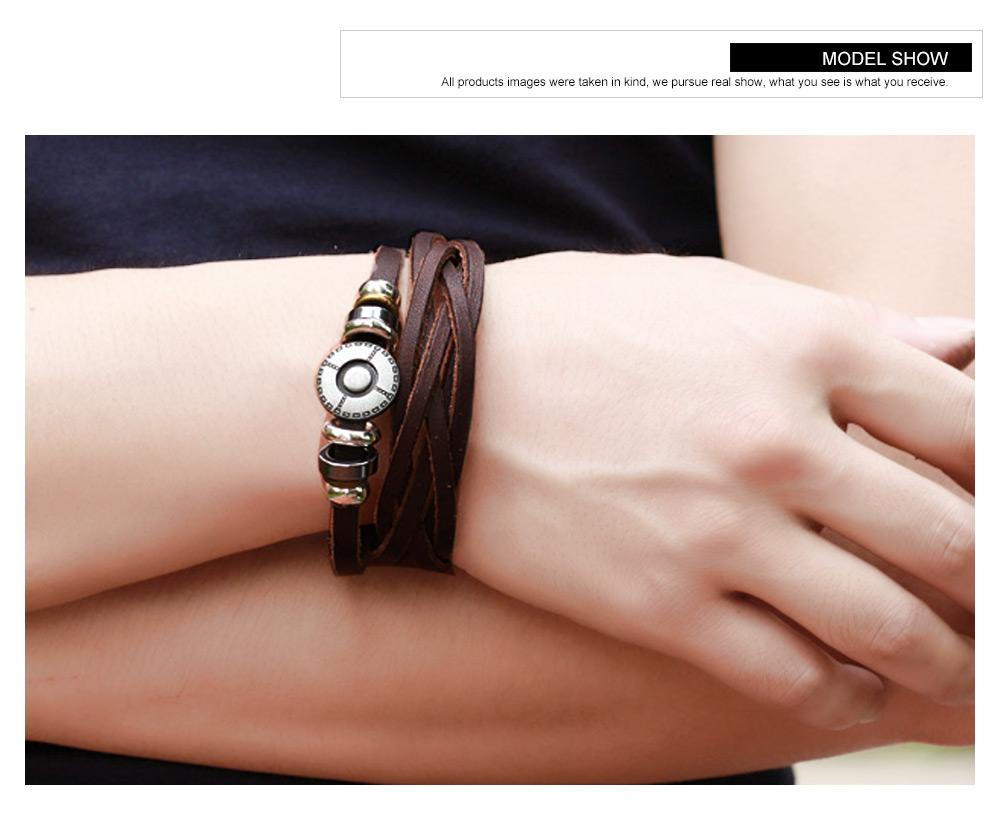 Cool Vintage Tribe Wide Leather Wristband Bracciale multistrato Bracciale Bangle Corda catena in vera pelle Punk Rock