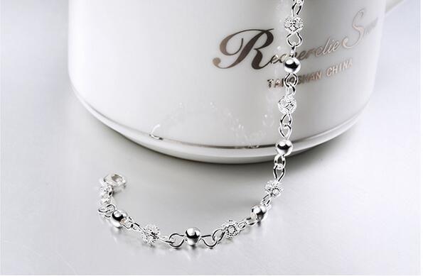 Hot 925 cadenas de plata pulseras joyería de calidad superior mujeres S925 cadena de plata pulsera brazalete cadena de enlace accesorios de lujo de la joyería