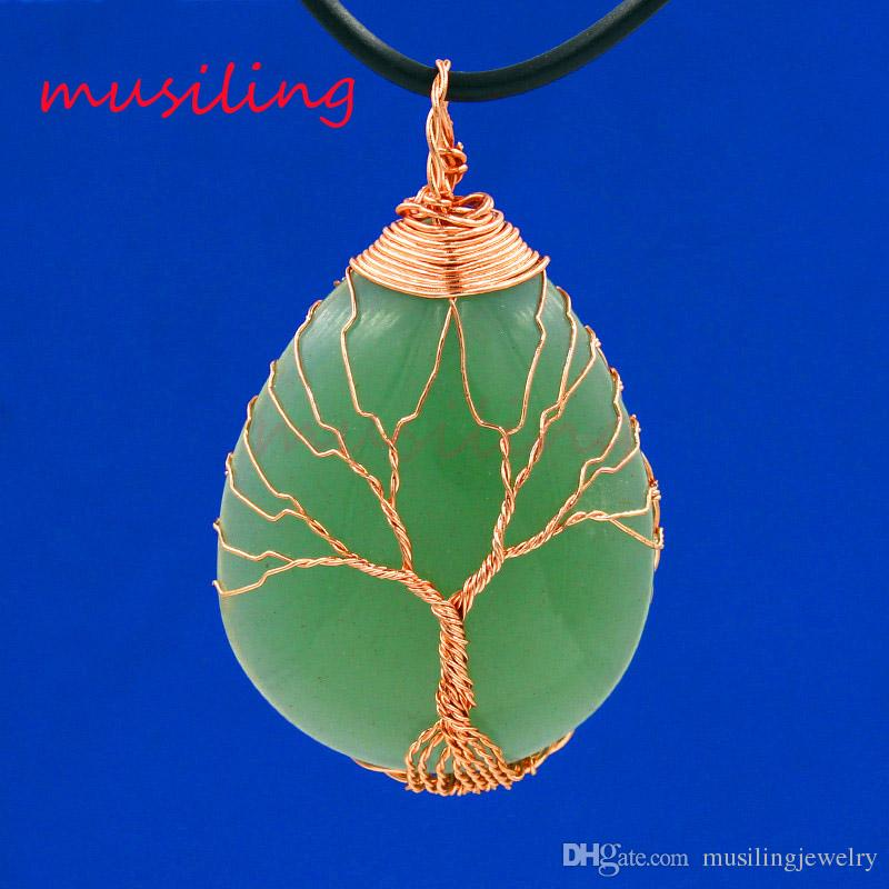 Water Drop Life Tree Pendants Necklace Chain Jewelry For Women Natural Stone Charms Bohemian Healing Chakra Amulet Fashion Jewelry