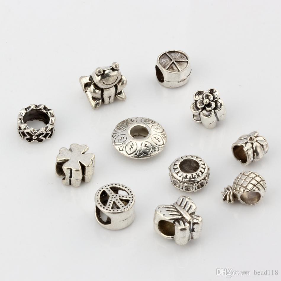 110 stks Alloy Mix Peace Mark Butterfly Bloem etc. Big Gat Spacer Beads voor Sieraden Maken Armband DIY-accessoires