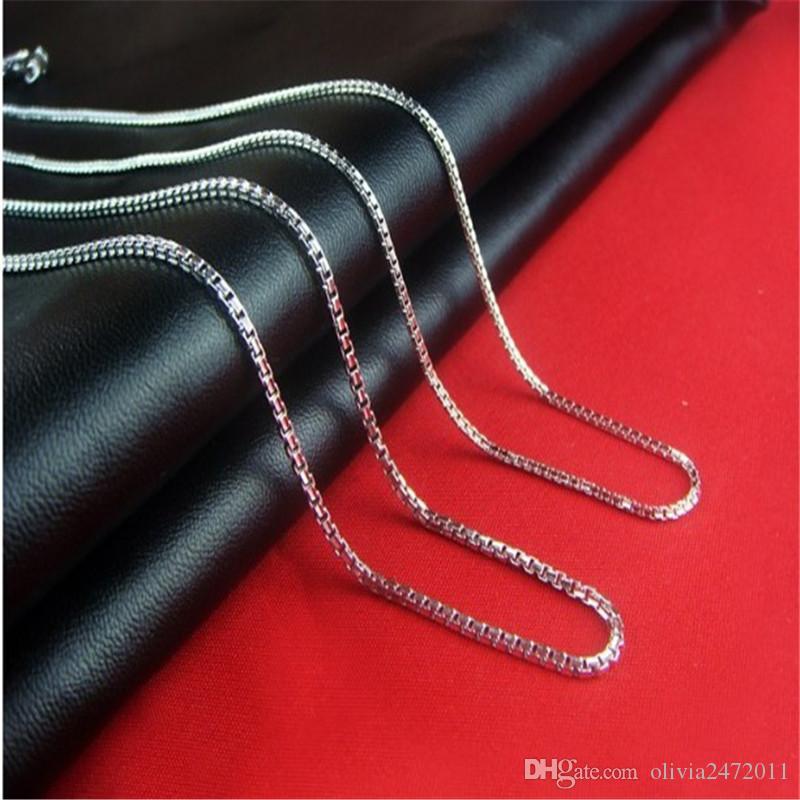 45 cm Boîte Chaîne Collier Pour Les Femmes De Mode Bijoux 925 En Argent Sterling Collier Chaîne Plomb Nickel Libre XF