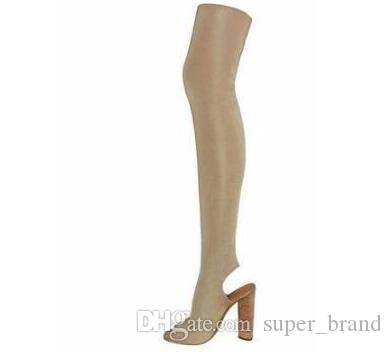 knee-high solid round toe square heel long boots women shoes slingback fashion strech fabric pionted toe sock boots womens