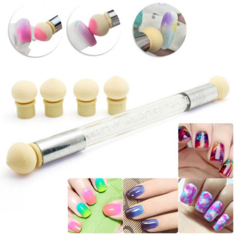 Dual Head Nail Art Sponge Brush Pen Kit Rhinestone Handle Stamping ...