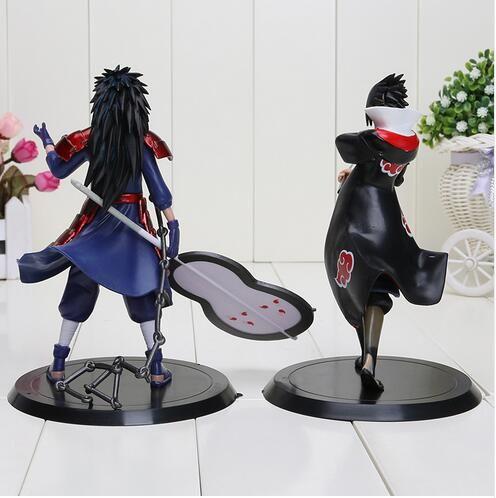 Alta calidad 2 unids / set 18 cm Naruto Uchiha Madara Sasuke pvc figura de acción juguetes Naruto figura juguetes modelo