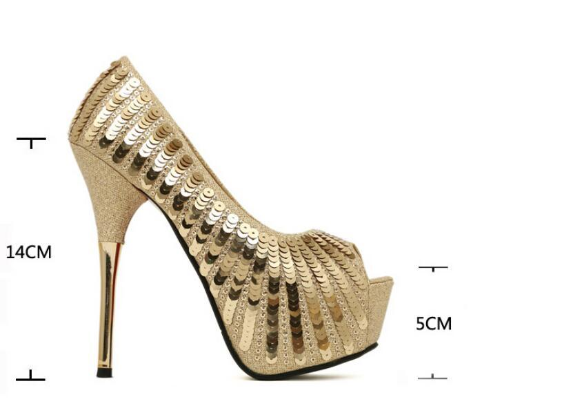 Fall new single shoes sexy luxury shiny fish mouth waterproof sequins metal stilettos KF30