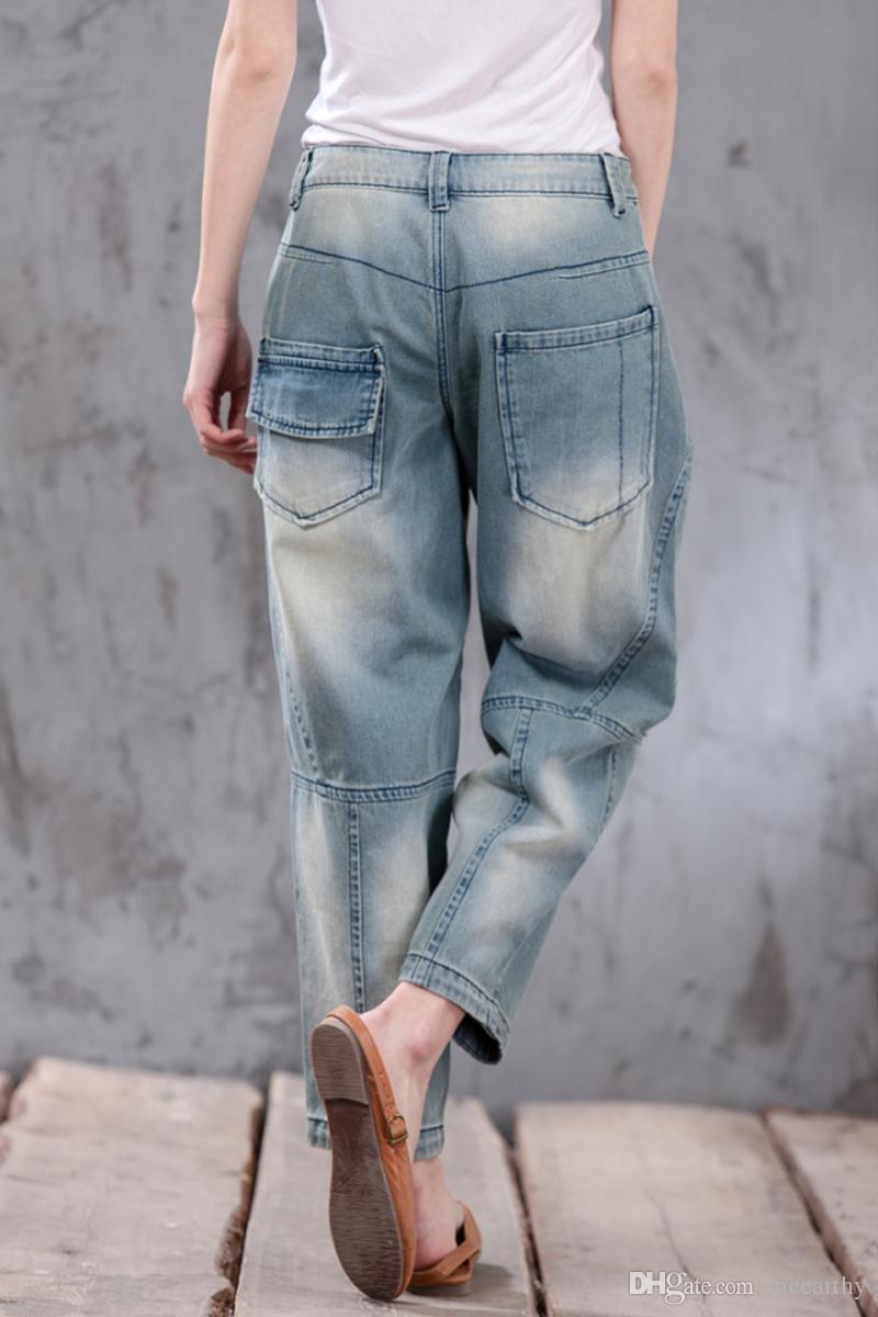 100% Baumwolle plus Größe Denim Jeans beiläufige Caprihosen lose Harem Hosen für Frauen Herbst Frühling Pumphose Hosen Hosen weibliche xyx0603
