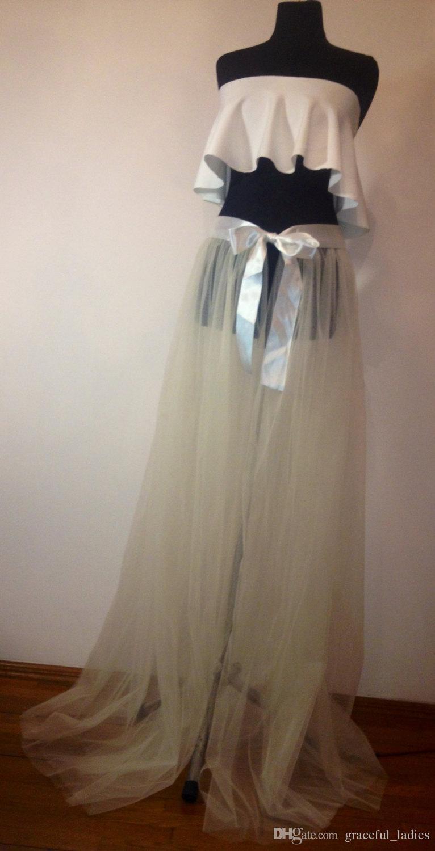 Custom Color Overskirt Tulle Petticoats Front Open Długi pociąg Petticoat Koronki Talii Zespół Dostosowane Service Petticoats do sukni ślubnej