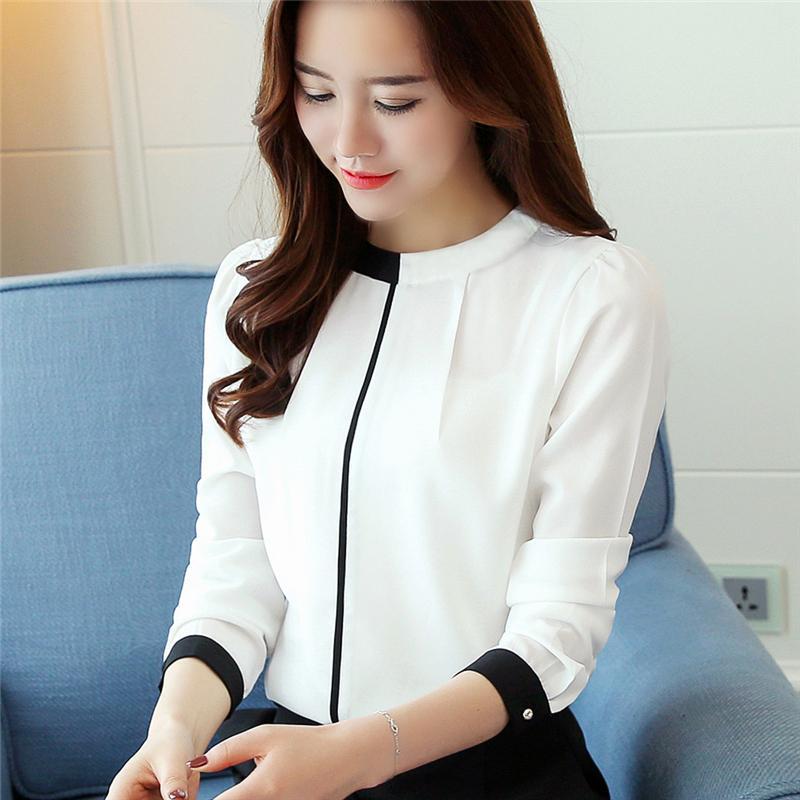 569dce4255228 2019 Autumn New Korean Chiffon Shirt Fashion Stand Collar Long Sleeve Blouse  Slim Underwear Women Blouses Women S Clothing From Micheala shop