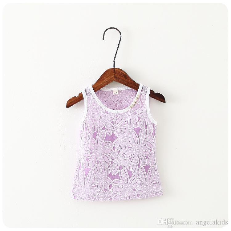 الاطفال فتاة قميص أعلى الصيف بلا أكمام قميص الدانتيل حواف موجة سوينغ الكتف الحافظة ملابس الطفل الحلو
