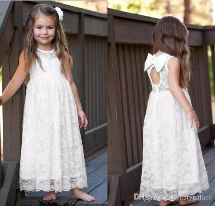 f43155142b61c White Lace Boho Flower Girl Dresses Jewel Neck Floor Length Big Bow Knot A  Line Little Girls Dresses Custom Made Infant Formal Dresses Ivory Lace  Flower ...