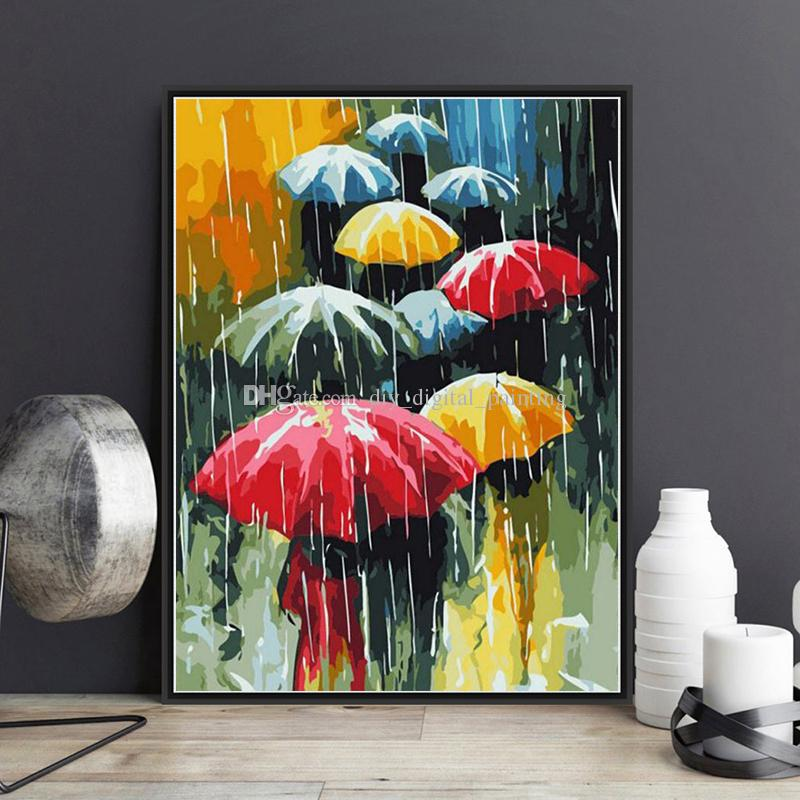 2018 Flower Umbrella Diy Digital Oil Painting By Numbers Kits Wall ...