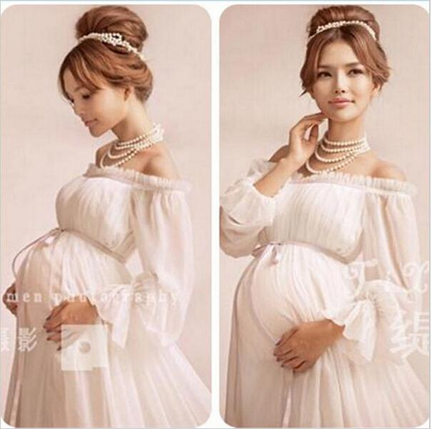 779609030d1 2019 New White Lace Maternity Dress Photography Props Long Lace ...