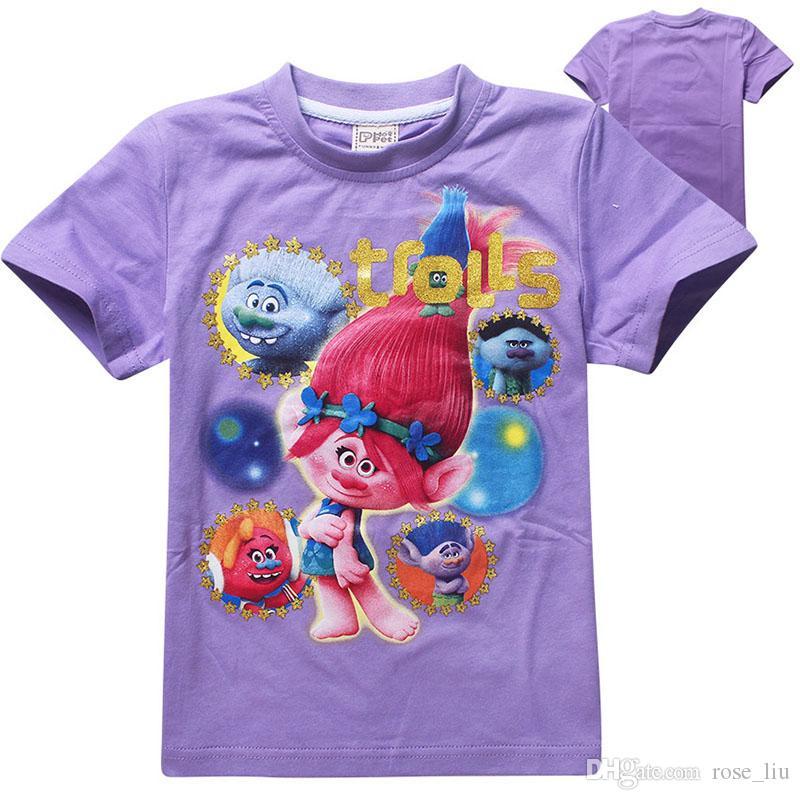 3 Colour Trolls Poppy Branch T-shirt boy girl nuovi cartoni animati Poppy Biggie T-shirt manica corta neonati B