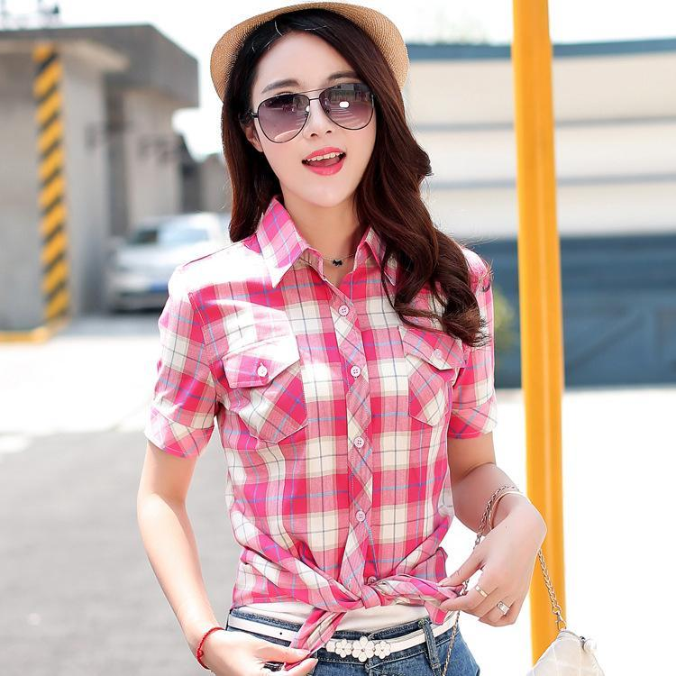 a434163c596 Summer 2016 plaid shirt female short sleeve checkered shirt Tops Women's  cotton cardigan shirt female in a cage