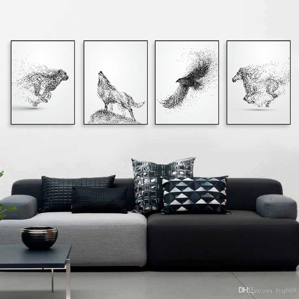 Black White Ink Wild Animal Horse Eagle Wolf Poster Nordic Living Room Wall A4 Art Print Picture Home Deco Canvas Painting No Frame