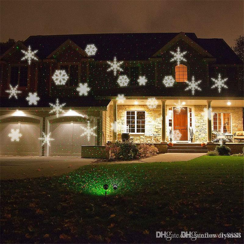 1 세트 무료 배송 방수 움직이는 스노우 레이저 프로젝터 램프 눈송이 LED 무대 조명 크리스마스 파티 조경 가든 램프 Outdoo