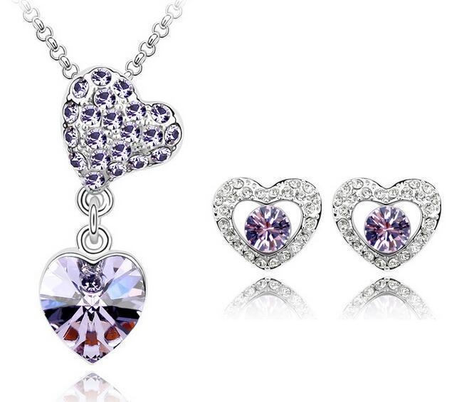 f6feffe1dc8a Conjunto de joyas con elementos de Swarovski de cristal austriaco  Pendientes Collar y pendientes de diamantes de imitación Conjunto de joyas  de ...
