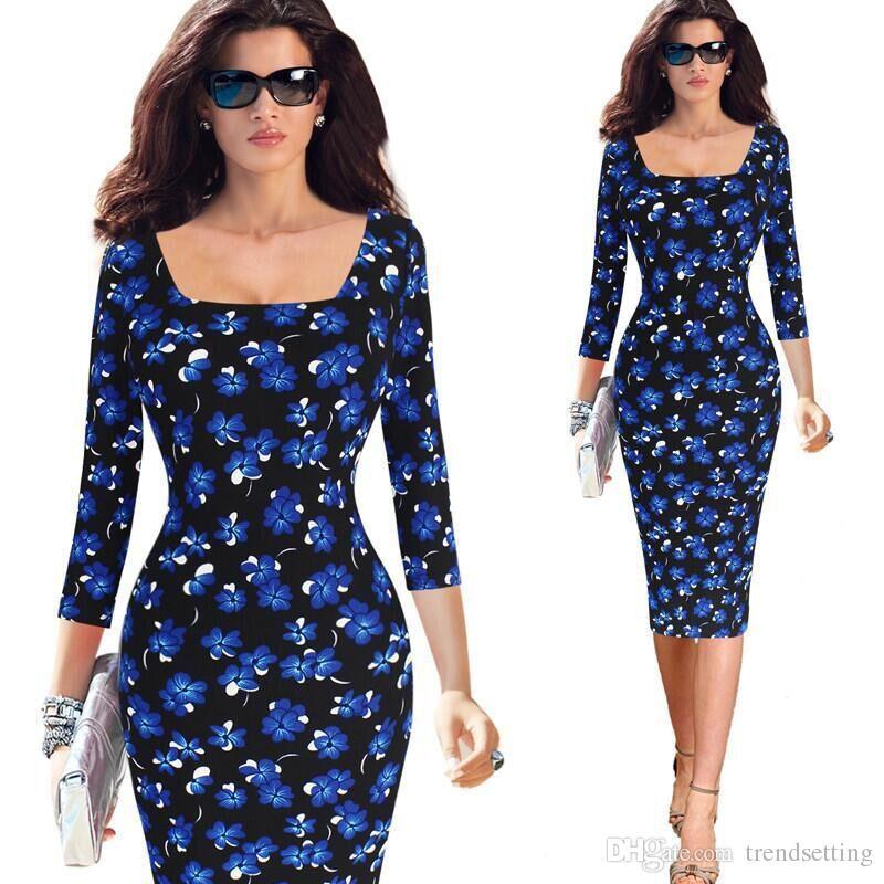 Vestidos S 5xl Plus Size Women Dress Autumn Orchid Floral Print