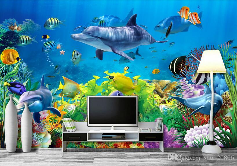 3d wallpaper custom photo non-woven mural wall sticker Coral sea world fish painting picture 3d wall room murals wallpaper