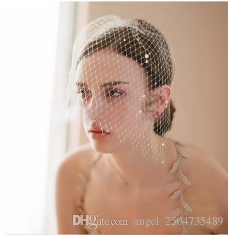 Hot Sale Handmade Elegant Tulle Face Veil With Crystal Comb Birdcage Wedding Hats For Bridal Gown Wedding Accessories