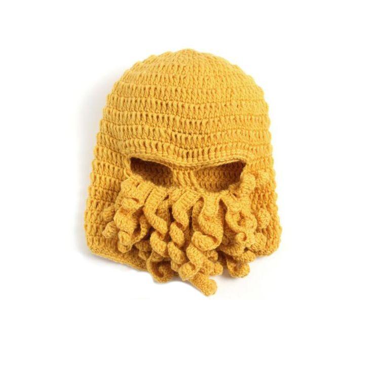 2016 Novelty Handmade Knitting Wool Funny Beard Octopus Hats Caps Crochet Knight Beanies Ski Face Mask Knit Hat Halloween Gift