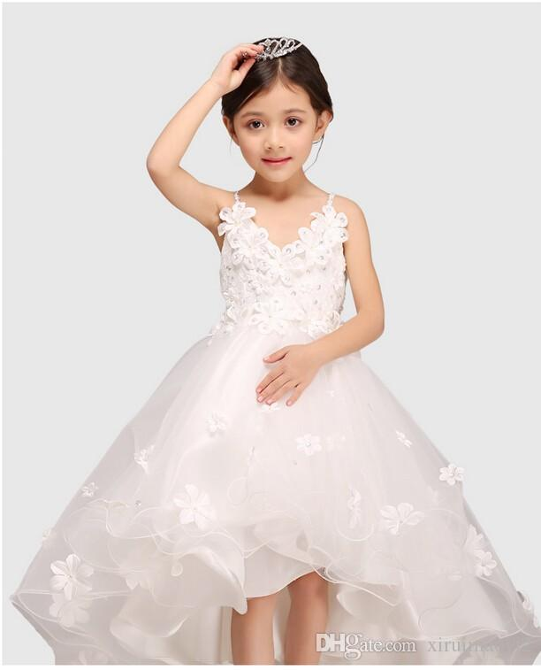 Glitz white spaghetti straps princess flower girl dress for weddings glitz white spaghetti straps princess flower girl dress for weddings girls party pageant dress with long train for baby girls flower girl dresses girl mightylinksfo