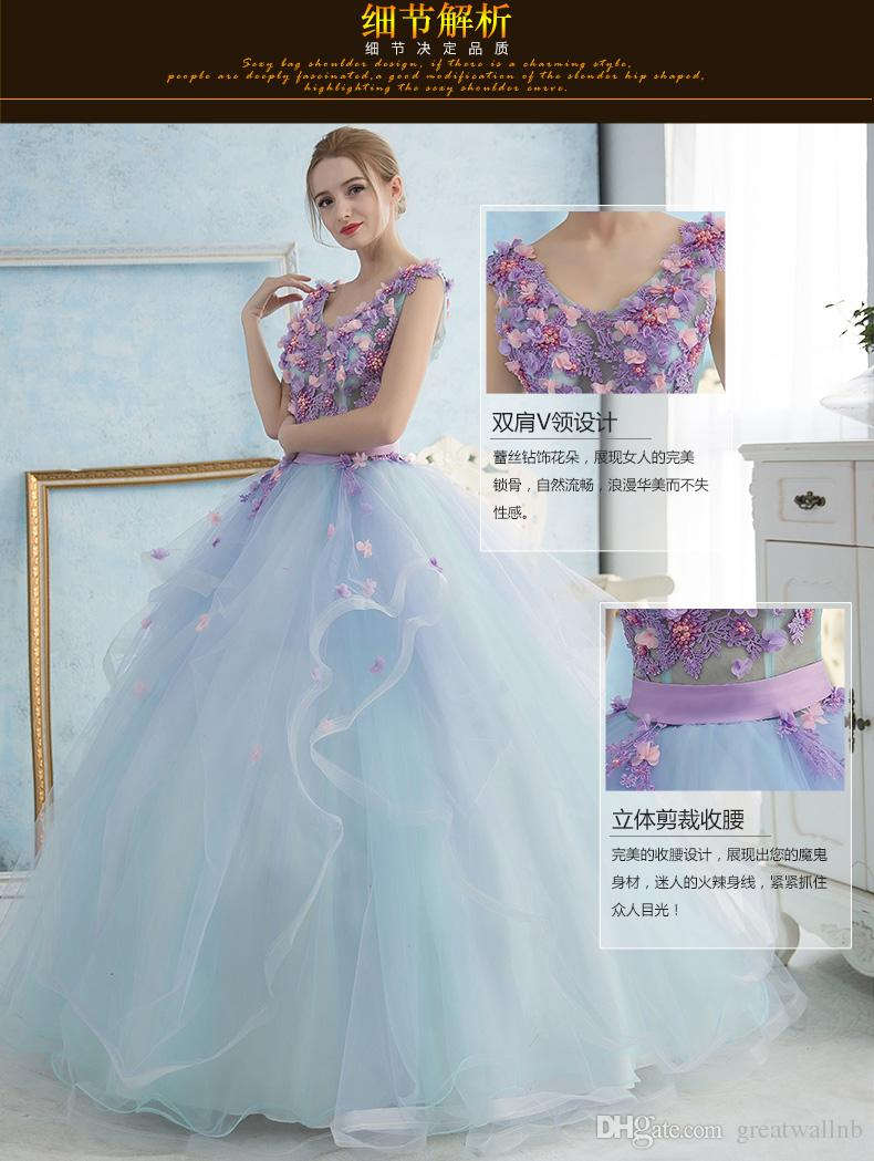 100%real Light Pale Blue Violet Embroidery Fairy Beading Ball Gown ...