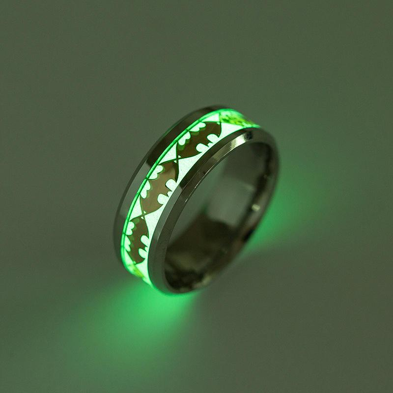Stainless steel Ring Hero Batman Glow In The Dark Rings Fluorescent Glowing Light Batman Finger Rings Women Men Rings Drop Shipping