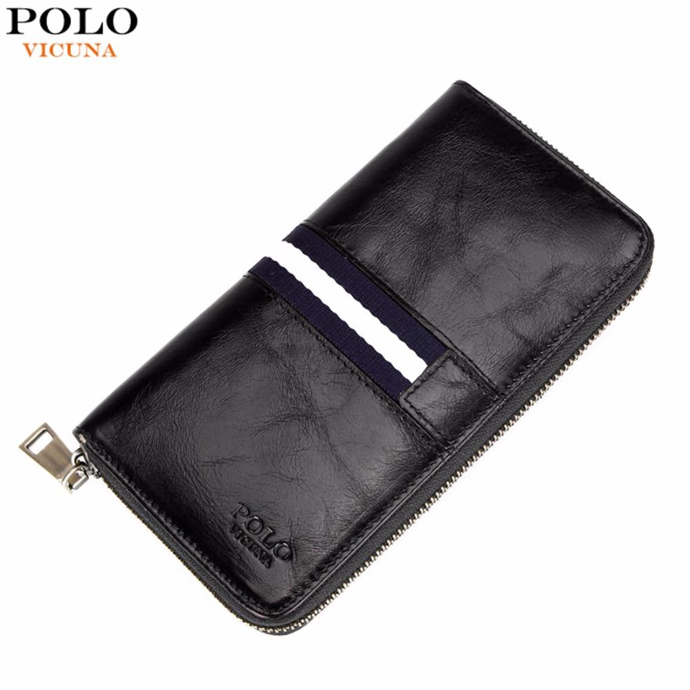 da79d5f6ab84a Wholesale Vicuna Polo Waxy Oil Genuine Leather Wallet Fashion Striped  Design Large Mens Long Wallet Zipper Men Wallets Billetera Hombre Purses  And Wallets ...