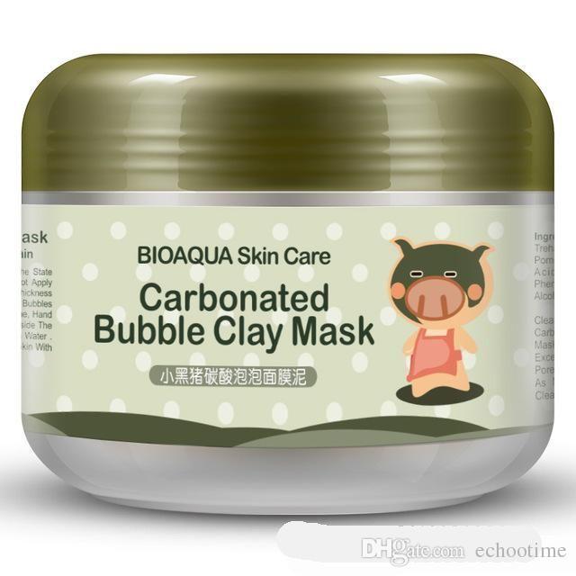 100 جرام bioaqua قناع الوجه kawaii الأسود خنزير الغازية فقاعة الطين قناع الشتاء التنظيف العميق ترطيب الجلد الرعاية