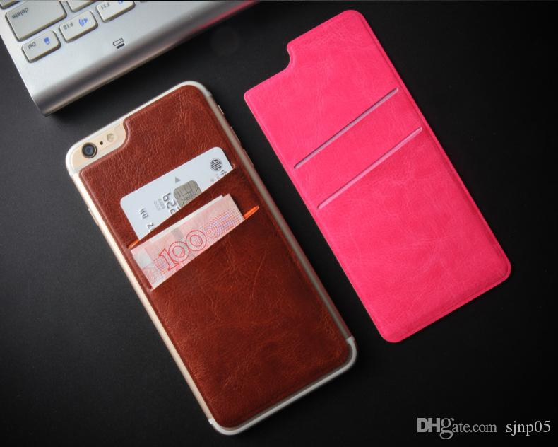 the latest 0e47d 54e75 2016 Ultra-Slim PU Leather Credit Card Holder Self Adhesive Stick-on Wallet  Smart Back Cover Card Pocket Pouch 2 Slot for iPhone 6s Plus S7