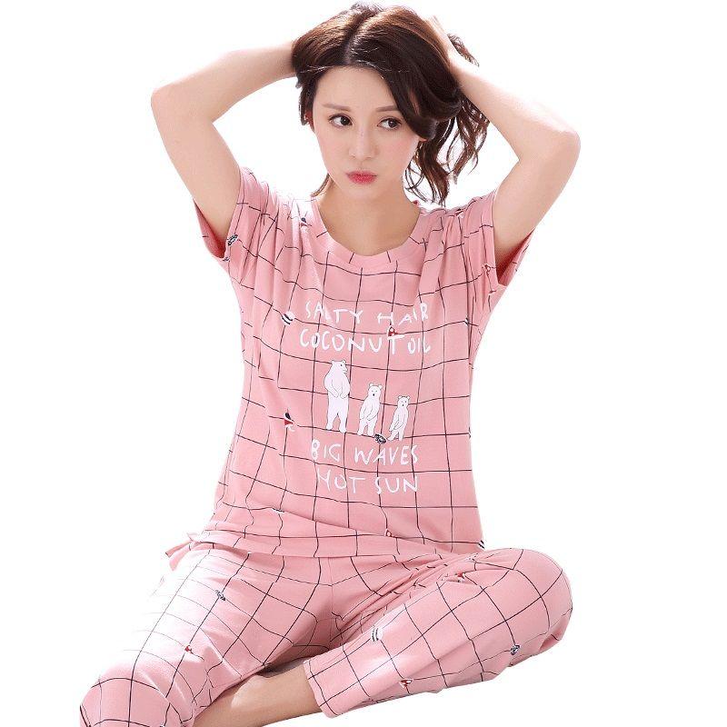 845c2574f34b 2019 Wholesale Women Pajamas Set 100% Cotton Pajamas Plaid Pajamas Spring  And Summer Female Short Sleeve Sleepwear Lovely Night Suits From Honjiao
