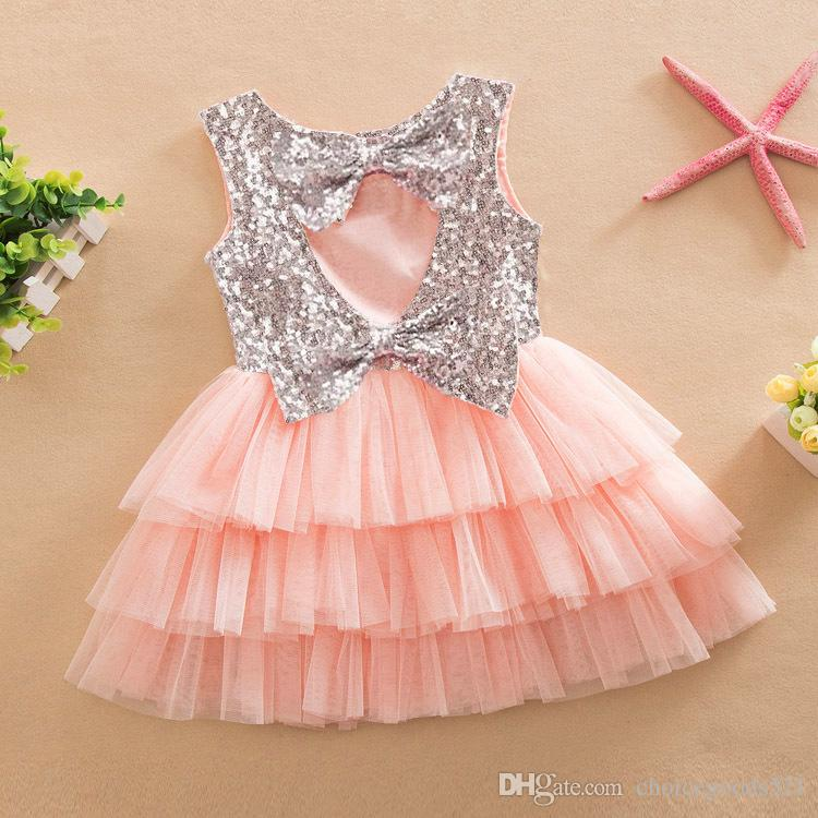 Großhandel Sommer Mädchen Kleid Kinder Pailletten Bowknot Kleid ...