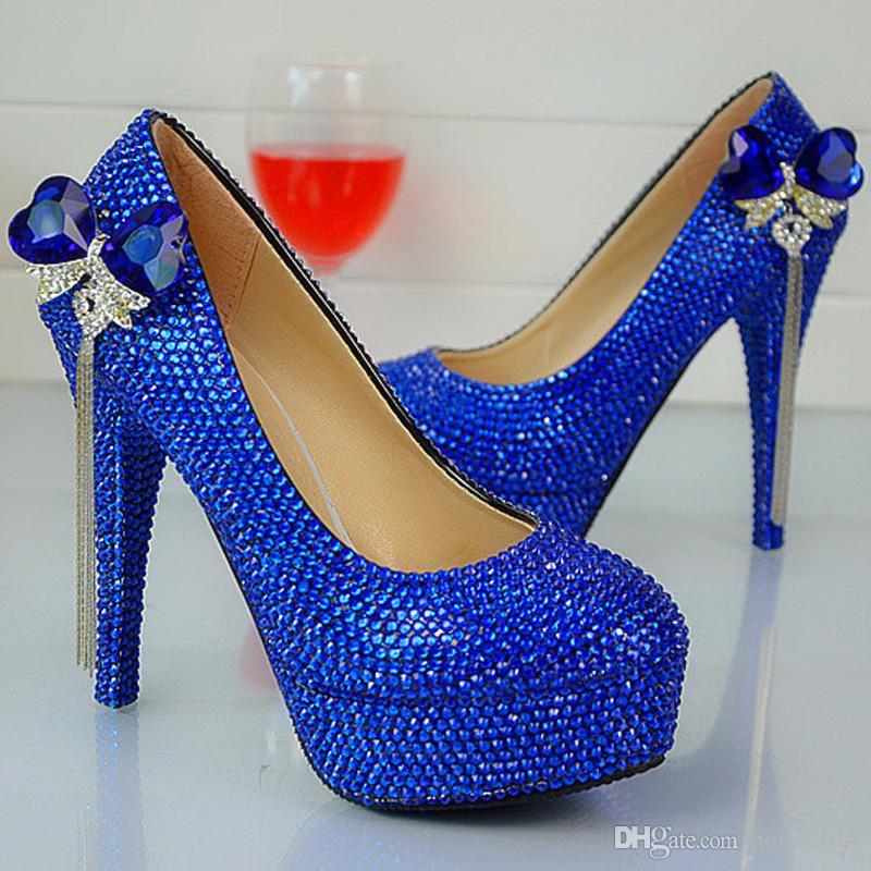 Moda hecha a mano Royal Blue Rhinestone zapatos de boda punta redonda Slip-on tacones de tacón alto fiesta de baile bombas más el tamaño 44 45