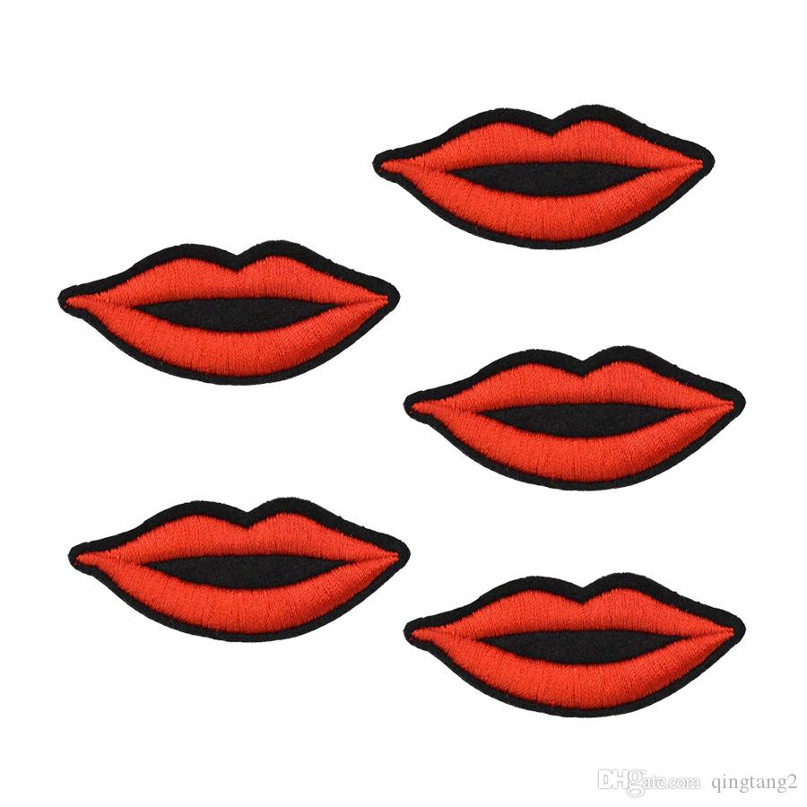 lips embroidery patches for clothing iron-on patch sewing accessories badge stickers on clothes applique iron on fashion patches DIY