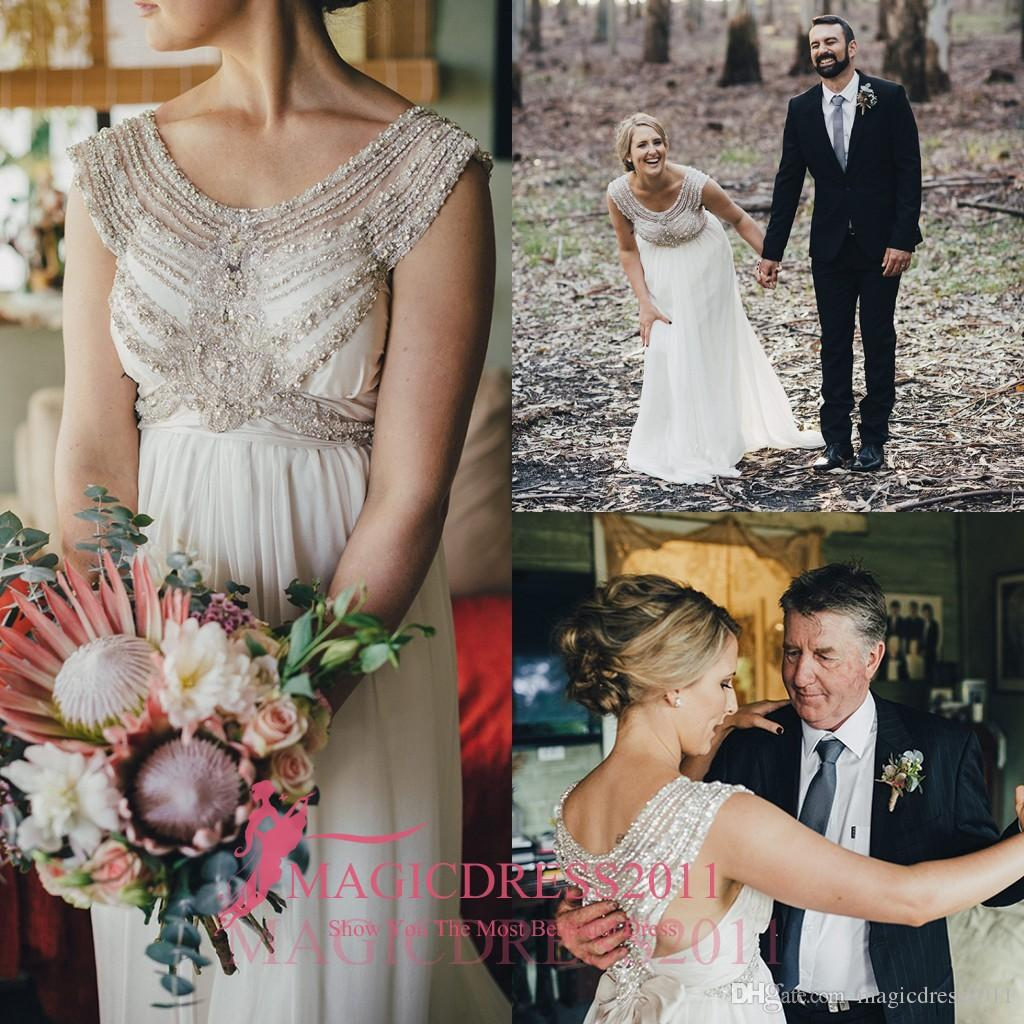 0332ff78928 Discount 2016 Romantic Australian Bush Wedding Dresses A Line Sheer Neck  Jewel Collar Beaded Long Chiffon Vintage Beach Boho Garden Bridal Gowns  Unusual ...