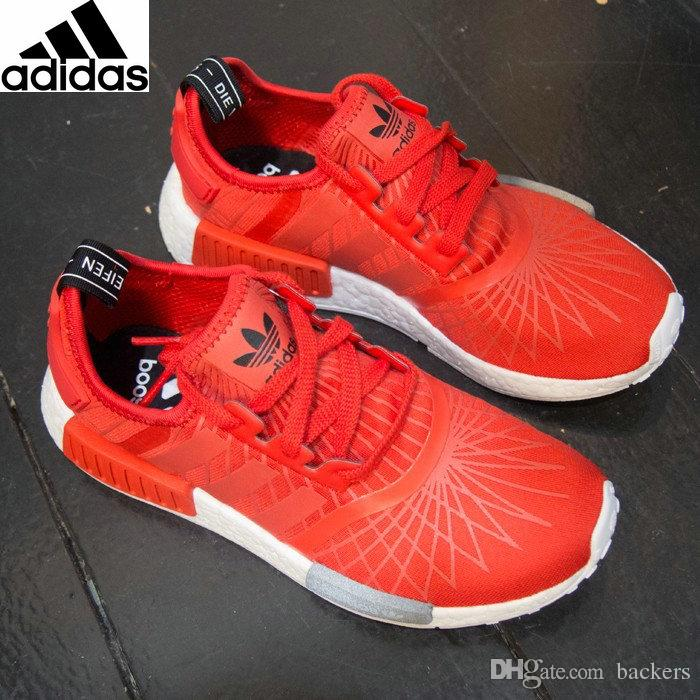 promo code a2608 5e309 ... original adidas nmd runner running shoes for women mens spider casual  sneakers 2016 black white red