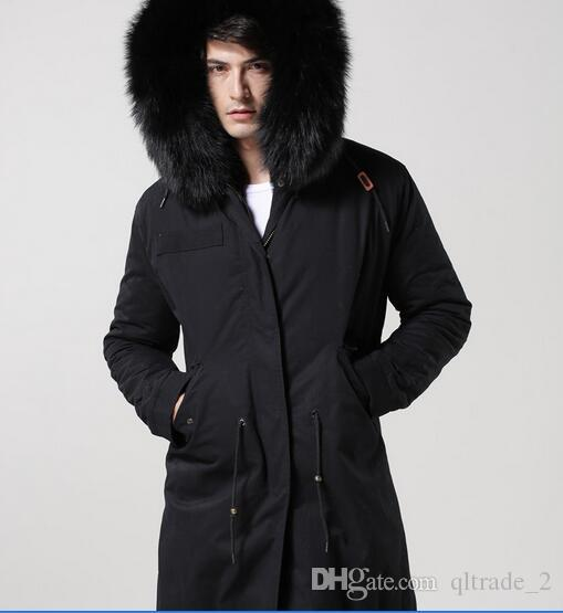 2018 Men Fur Parka Black Fur Mr & Mrs Furs Parka Rabbit Fur Lined ...