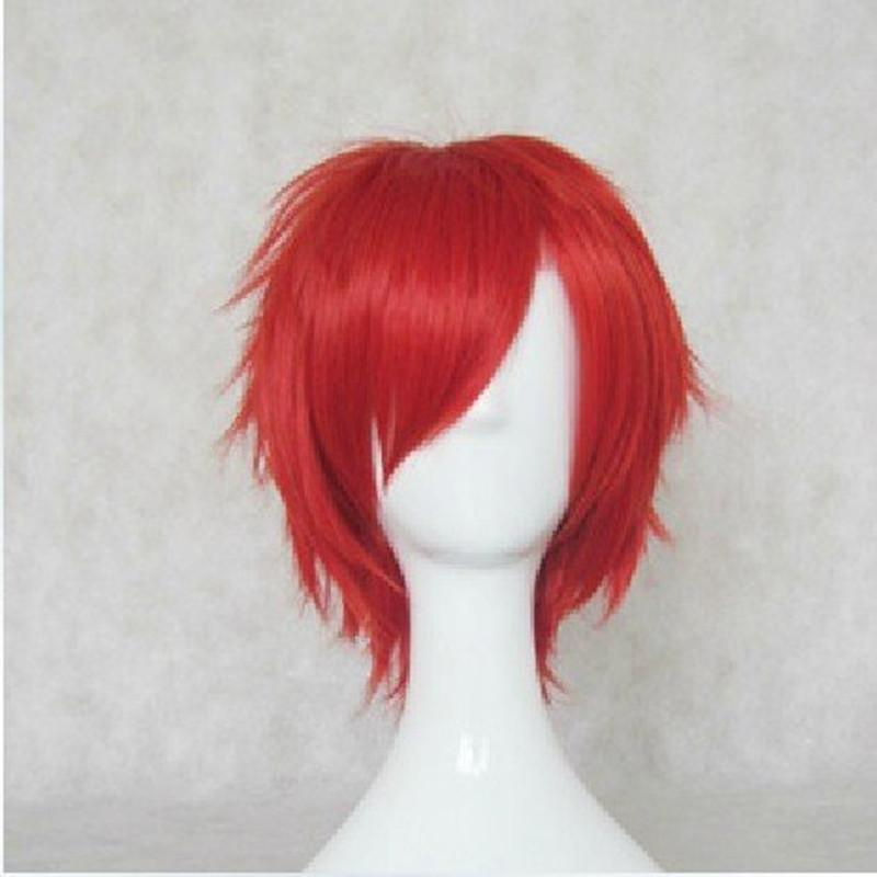Hairjoy Man Cosplay Wig Red Blue Short Straight Synthetic