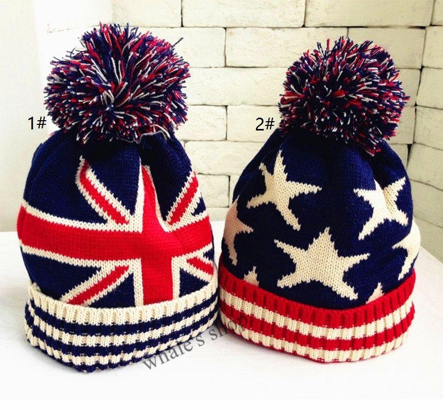 2c1843139c8 2019 Kids Boy Girl Union Jack Or Stars Stripes USA Flag Warm Winter Bobble  Beanie Skull Ski Pom Pom Hat Cap From Whale2016