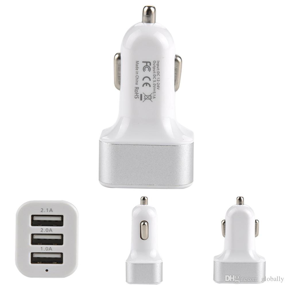 3 Port Auto Zigarettenanzünder Splitter Ladegerät Netzteil DC + USB 12V-24V für Smartphone