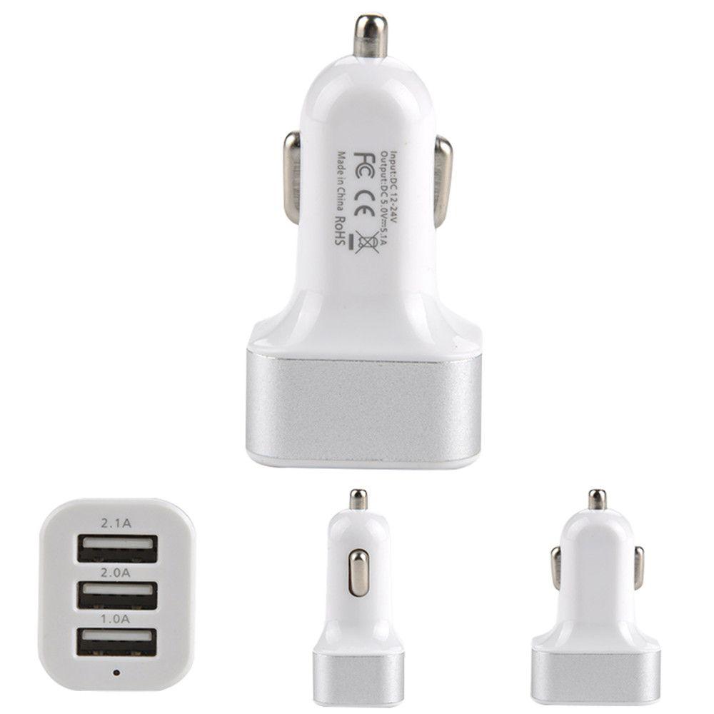 Wholesale 3 Port Car Cigarette Lighter Socket Splitter Charger Power Adapter DC+USB 12V-24V for Smartphone